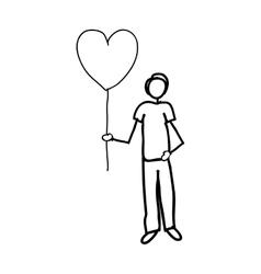 Man holding heart balloon cartoon icon image vector