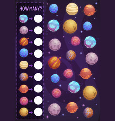 math game for kids planets in space vector image