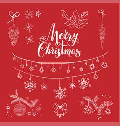 Merry christmas sketch vector