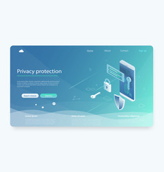 mobile data security isometric vector image