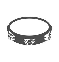 Monochrome simple tambourine icon vector