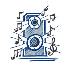music speaker sketch vector image