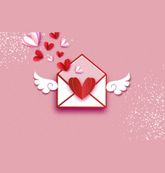 Origami red white hearts valentines postcard vector