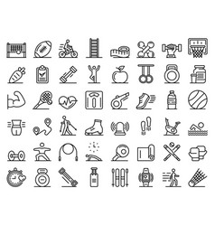 outdoor fitness icons set outline style vector image