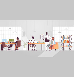 people vs robots working in creative co-working vector image