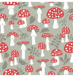 Poisonus mushrooms doodle style wallpaper vector image