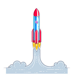 Rocket launch into undiscovered space explore vector