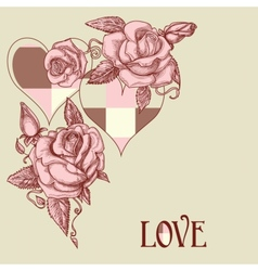 roses and hearts vector image vector image
