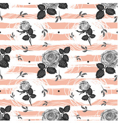 roses pattern vintage flower seamless background vector image