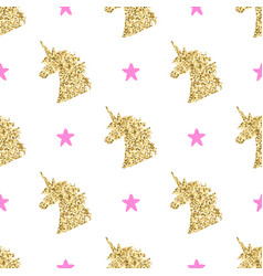 seamless pattern with golden magical unicorn head vector image