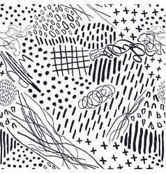 seamless pattern with hand drawn abstract lines vector image