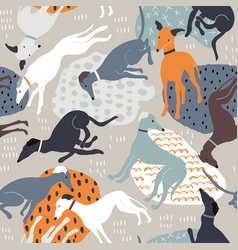 seamless pattern with hand drawn greyhounds vector image