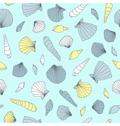 Seamless seashell pattern vector image
