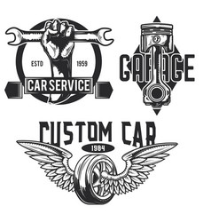 set car service emblems labels badges logos vector image