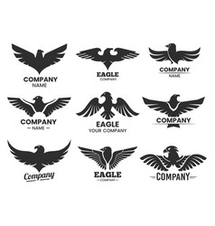 set eagle or falcon black silhouettes vector image