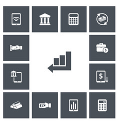 Set of 13 editable investment icons includes vector