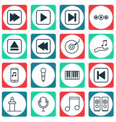 Set of 16 audio icons includes sound box music vector