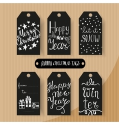 Set of Christmas and New Year gift tags vector image