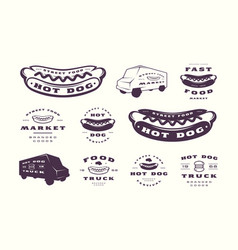 set of hot dog emblems and logos vector image