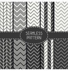 Set of monochrome fashion geometric seamless vector image