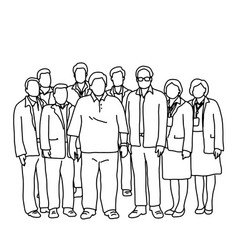 seven businessmen and two businesswomen standing vector image