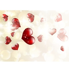 Shiny hearts bokeh light Valentines day EPS 10 vector image