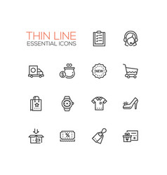 Shopping - line icons set vector