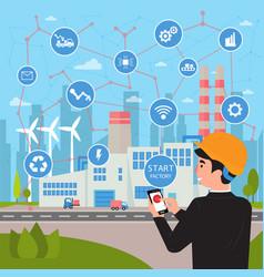 smart factory concept businessman manages plant vector image