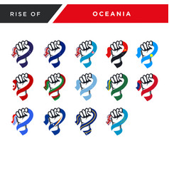 Spirit rising fist hand oceania flag set vector