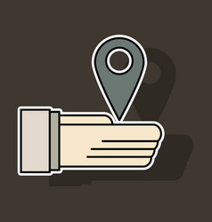 sticker geolocation bar sign hand holds city map vector image