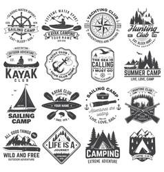 Summer camp hunting club sailing camp yacht vector