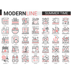 summer time vacation complex red black line vector image