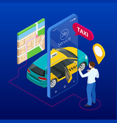 Taxi service mobile phone with taxi app on city vector