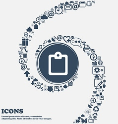 Text file icon sign in the center Around the many vector image