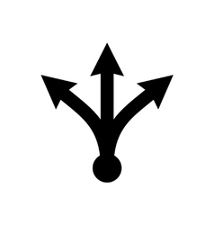 Three-way directional black arrow vector