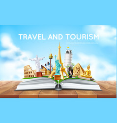 Travelling tourism poster design in book vector