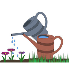 two watering can gray orange on dirt and grass vector image