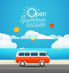Vacation travelling concept Flat design Open summ vector image