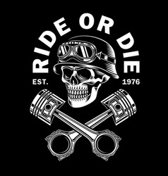 vintage biker skull with crossed pistons vector image