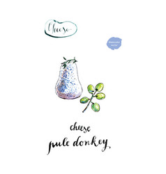 Watercolor homemade cheese pule donkey vector
