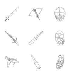 Weapon set icons in outline style Big collection vector image