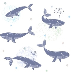 Whales seamless vector