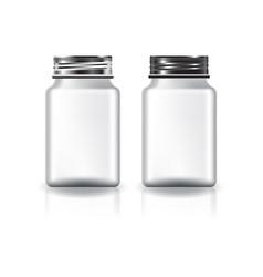 White square medicine bottle silver-black lid vector