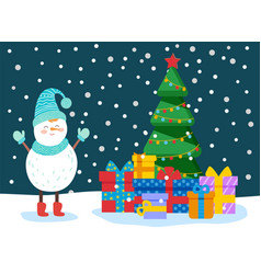 winter card with snowman tree and gift vector image