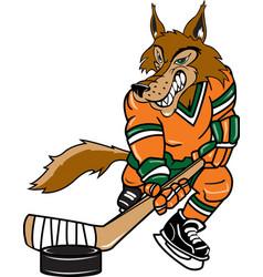 wolf sports logo mascot hockey vector image