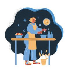 woman cooking at night vector image