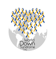 World down syndrome day cute heart made of ribbon vector