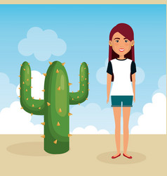 young woman in the desert character scene vector image