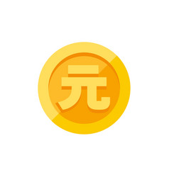 yuan symbol on gold coin flat style vector image