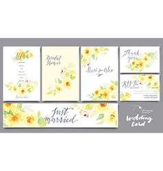 A set of cards for the wedding Watercolor vector image vector image